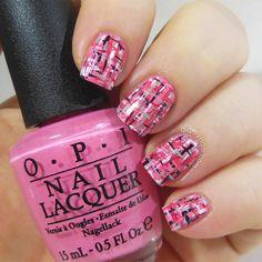 pink tweed nails!
