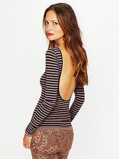 Striped Low Back Top