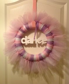Pink, purple and white dance wreath.