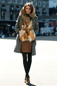 Fur vest, fur scarf ~ Olivia Palermo