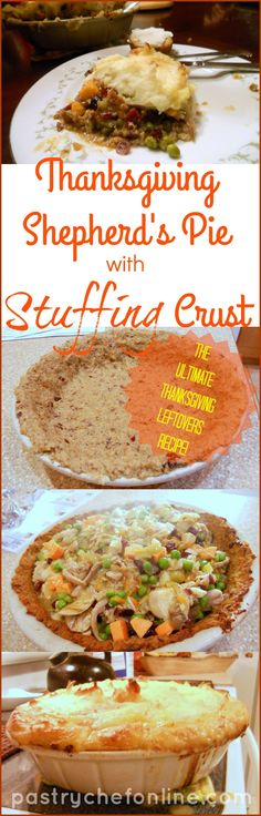 """This Thanksgiving Shepherd's Pie with Stuffing Crust Recipe just may be the ultimate Thanksgiving leftovers recipe. Stuffing crust filled with succulent turkey, chunks of sweet potato, dried cranberries, peas and any other Thanksgiving leftovers you have all bound with rich turkey gravy and covered with a thick, creamy layer of toasted mashed potatoes. Fantastic! 