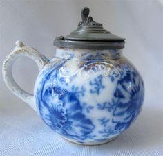 Antique Flow Blue Warwick Pansy Mustard Pot