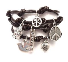 Leather Wrap Bracelet with Peace Charms