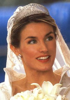Letizia, Princess of Asturias, wearing the Prussian Tiara at her wedding to Felipe, Prince of Asturias, son of Queen Sofia and King Juan Carlos of Spain