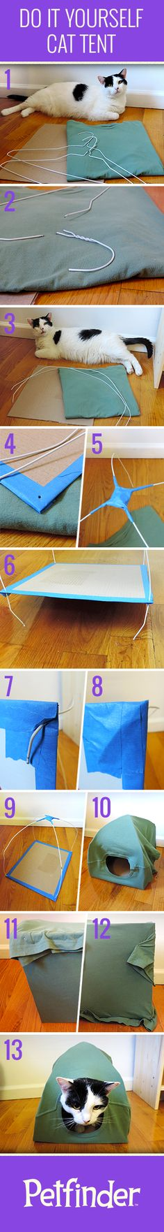 If your cat likes to hide in boxes or bags she'll love her very own Cat Tent. Easy DIY with a couple coat hangers, cardboard, tape and an old t-shirt!