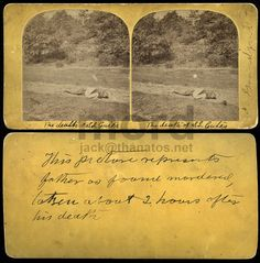 "Murder scene stereoscope, The Death of S Gates. On the reverse: ""This picture represents father as found murdered, taken about 2 hours after his death"". From the flickr collection of jack_mord"