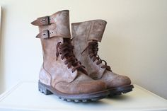 mid century, army, leather boots