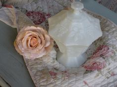 Apothecary Jar Milkglass Compote  Shabby Chic Candy by Fannypippin,