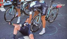 The British cycling sprinter was bidding for the 26th Tour stage win of his career and a first yellow jersey, but ended up seeing his efforts dashed when he suffered a suspected broken collar bone in the hefty fall.  #socialpeloton #tdf #markcavendish