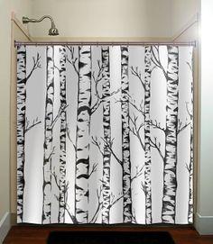 winter forest birch trees shower curtain bathroom decor fabric kids bath white black custom duvet cover rug mat window