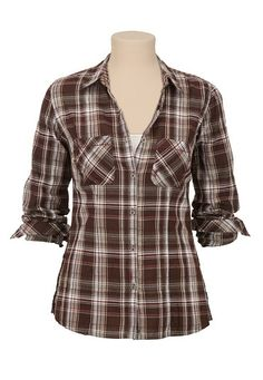Button down contrast stitch plaid shirt (original price, $29) available at #Maurices