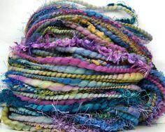 HandSpun Art Yarn Merino Wool Compendium 67 yards Kitty Grrlz FunctionArt Art Yarn