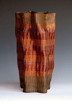 Frances Solar   FSolar-Vessel 5. Loom woven, copper wire, heat patina