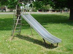 the metal slide that got hot in summer