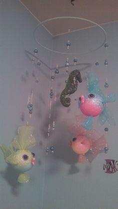 Homemade fish mobile for baby nursery
