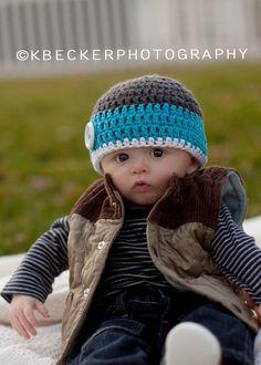 crochet baby hat, crochet kids hat, baby hat, boys hat, crochet boys hat, newborn boy hat. $16.00, via Etsy. - @Melissa Spivak R