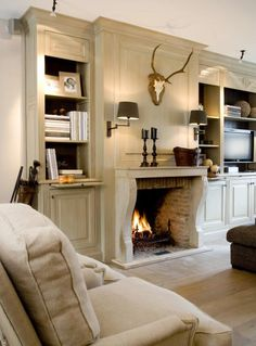 Neutrals and fireplace