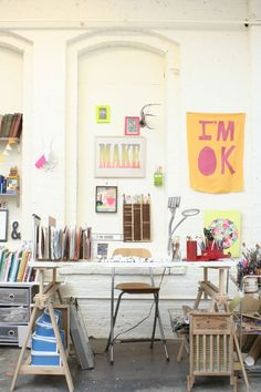 Artist Lisa Congdon working space