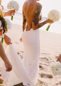 tattoo placements, dream dress, backless dresses, the dress, beach weddings, tattoo bride, bridesmaid bouquets, tattooed bride, beach wedding dresses
