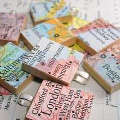 Map Scrabble Tile Pendant.  Vintage.  You Select the Journey.