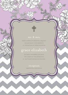 Lavender Brocade with Chevron Print Baptism Invitation