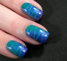Striped and mirrored diagonal gradient manicure featuring Lynnderella Bride of Franken as sparkles on top nail polish, nail arts, gradient nails, tape, nail gradient, wispi nail, stripe, gradient manicur, beauti gradient