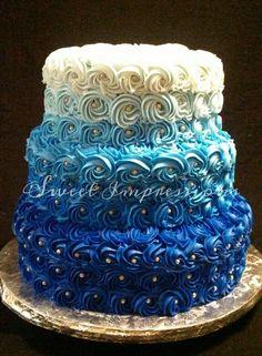 Blue Ombre Petal Cake Cakes