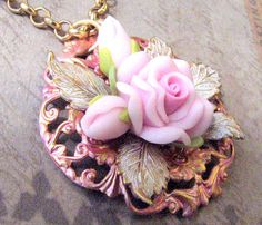 Pretty in Pink Rose Pendant  by VRBBoutique, $30.00. B'Sue Boutiques Creative Group MAY CHALLENGE piece.