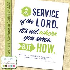 Dube (J. Reuben Clark) Service Free Printable from BitsyCreations LDS General Conference #LDSCONF
