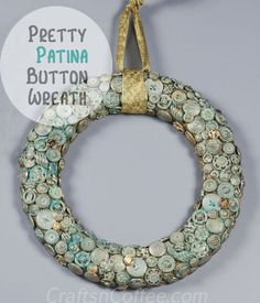 Such a pretty button wreath. CraftsnCoffee.com shows you how to add the Verdi gris patina to the wreath.