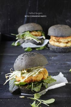 Halibut Burgers with Coriander Mayo