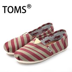 cheap toms outlet women red stripe shoes $20.98