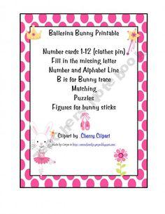$1.50 Ballerina Bunny Pre-K Printables ballerina bunni, prek printabl, bunni printabl, preschool activ, teacher notebook, preschool craft, preschoolprint shop, notebook giveaway, fun printabl