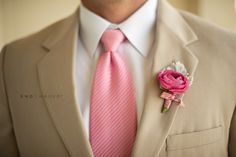 Pink Wedding suit tie. JULIE - This is the color of suit, tie and flowers for groomsmen that I think would look best. And the groom would have a different tie and lighter color pink or probably white flower Pink Wedding, White Flowers, Pink Roses, Grooms Style, Khakis And Pink Groomsmen, Colors, Wedding Photos, Tans Tux, Gold Wedding