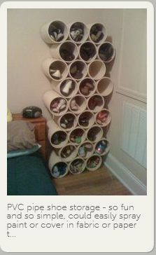 pvc pipe storage? What if you spray paint each one another color for an awesome storage wall unit??? I think I will try it out.