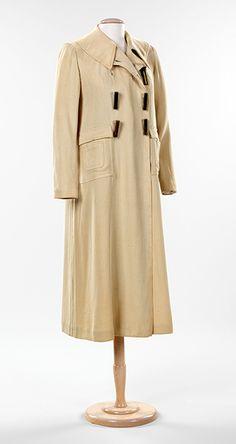 Coat, ca. 1933  Elsa Schiaparelli (Italian, 1890–1973)  Cream cotton corded weave, metal