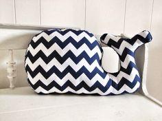 Navy and white Chevron Whale Pillow plush for nautical whale nursery baby boy nursery by RaggedyRAD, $28.00