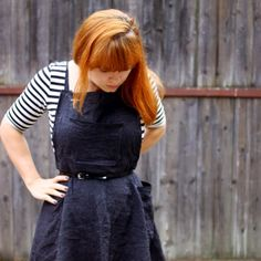 Read how to make a cute and easy dungaree dress like this. Would look cute as a witch costume too