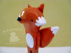 Tabletop Sculpture - Francis Fox - Original Woodland Animal Paperclay Art. PigAndPumpkin