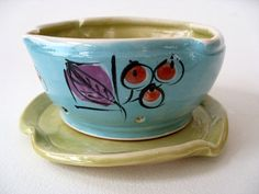 Hand Painted Stoneware Berry Bowl Free Shipping by JoyceSloanim, $38.00