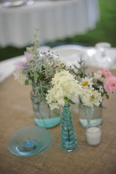centerpieces, blue, pink, rustic, reception, maine lake side wedding, decor, table, blues maine, flower centerpieces, main lake, lakes, blue main, bottles, flowers, blues, lake side