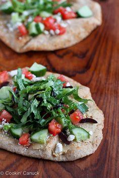 10-Minute Hummus & Greek Salad Naan (Flatbread) | cookincanuck.com #healthy #recipe