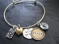 Lulu Belle Bracelet- Alex and Ani inspired bangle bracelet. Personalized jewelry. Hand stamped. Magpiedesignz.com