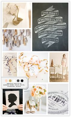 graphic and glitz, garden rose, gold, white, charcoal, black