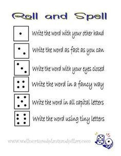 free roll and spell printable... great for practicing spelling words