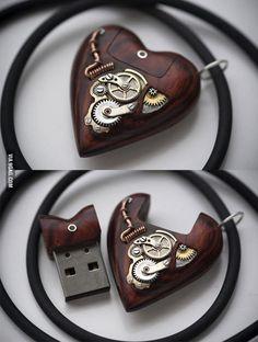 flash drive, memori, pendants, stuff, usb drive, steam punk, heart pendant, necklaces, steampunk usb