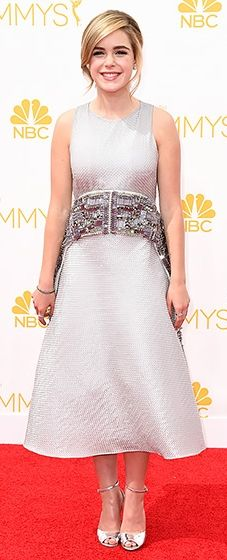 Check out this rising style star! Kiernan Shipka looked totally amazing in silver at the 2014 Emmys.
