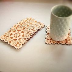 Image of square doily coasters - set of 5