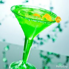 Dress up your drinks in bright green martini glasses for an instantly Irish version of any cocktail!