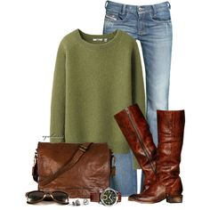 fall... sweater, fall fashions, cowboy boots, casual friday, style, messenger bags, fall outfits, brown boots